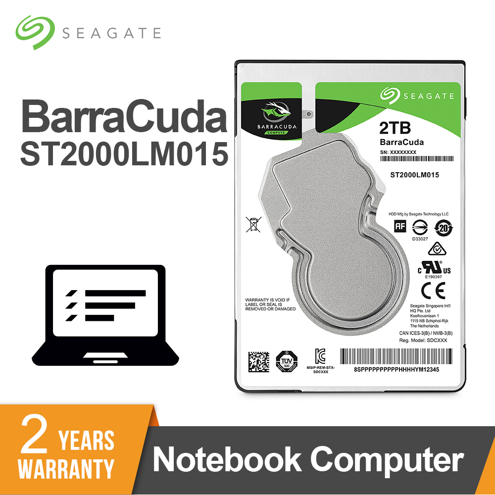 """Seagate 2TB 2.5inch Internal HDD Notebook Hard Disk Drive 7mm 5400RPM SATA 6Gb/s 128MB Cache 2.5"""" HDD For Laptop ST2000LM015"""