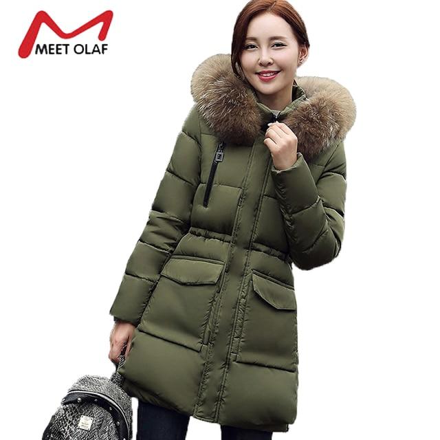 Online Shop 2017 Fur Hood Women Winter Down Jackets Pockets Winter ...