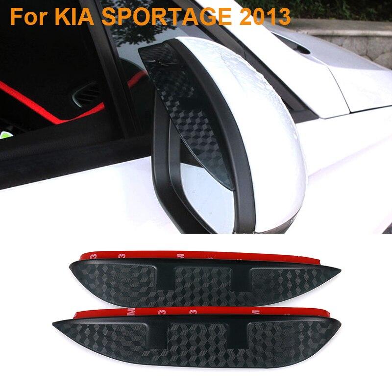 2016 Car Styling Carbon Rearview Mirror Rain Blades Car Back Mirror Eyebrow Rain Cover Protector For KIA SPORTAGE 2013 car styling for kia 2010 2014 k5 optima carbon fiber mirror cover in stock