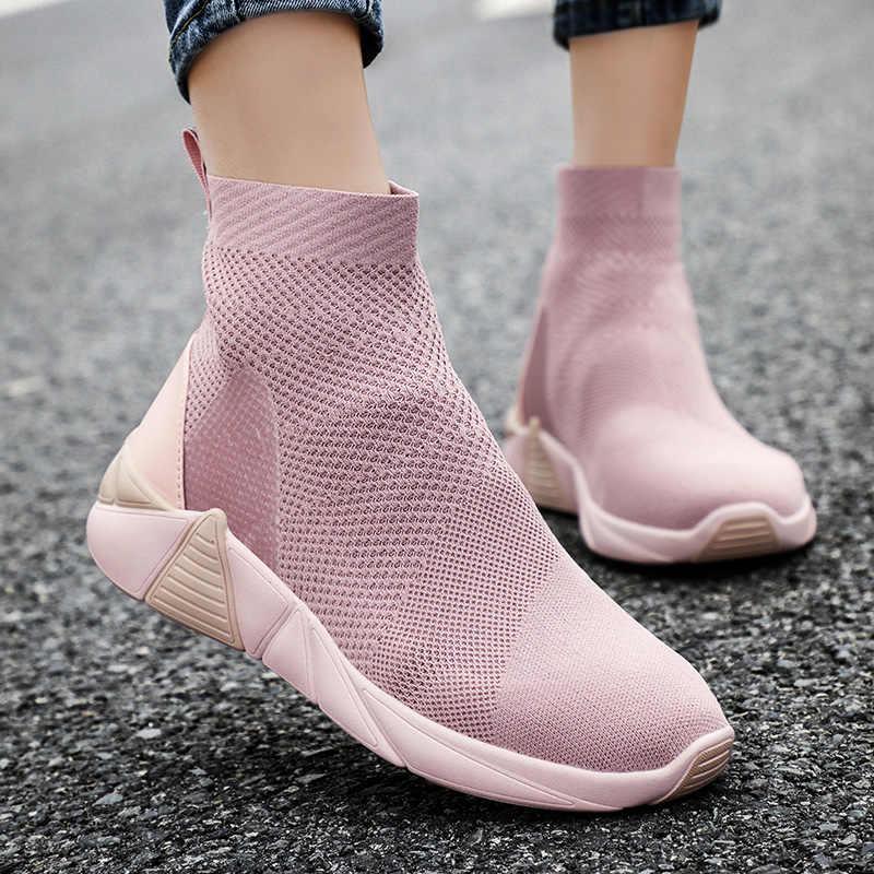 POLALI Nieuwe Ademende Enkellaarsjes Vrouwen Zomer Sneakers Platte Platform Schoenen Vrouw Sok Schoenen