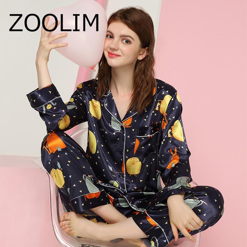 ZOOLIM Flower Women   Pajama     Sets   with Pants Multicolor 2018 Pijama Satin Sleepwear Spring Autumn Long Sleeve Silk Casual Pyjama