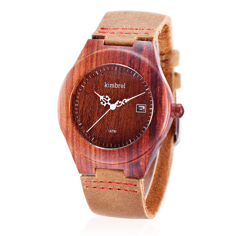 women s Round Black Red Sandal Wood Watches Wooden Watches Reddish Wood QUARTZ Date Calendar Wristwatches
