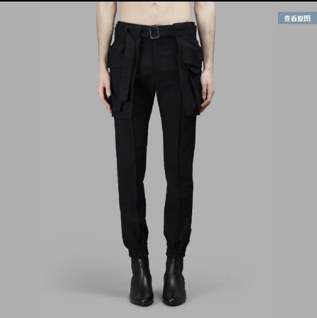 27-44 New 2018 men's clothing Hair stylist slim harem pants catwalk Male casual pocket trousers plus size singer costumes