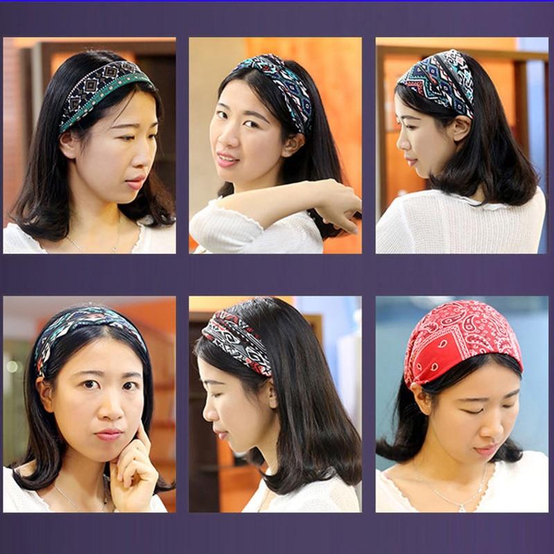 Women Sweat Band Headband Folk Custom Ethnic Style Head Wrap Yoga Headscarf  Tennis Badminton Wicking Workout Running Hairband #72054