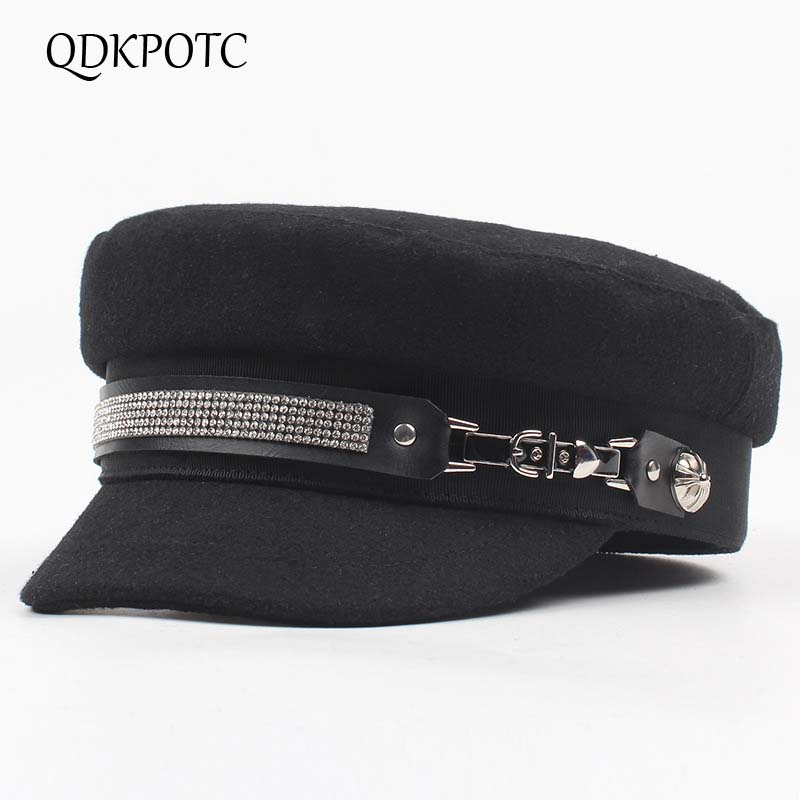 QDKPOTC 2018 Fashion Rhinestone Ladies  Military Hats Autumn Winter Casual Flat Top Hat Black Beret Women  Newsboy Cap