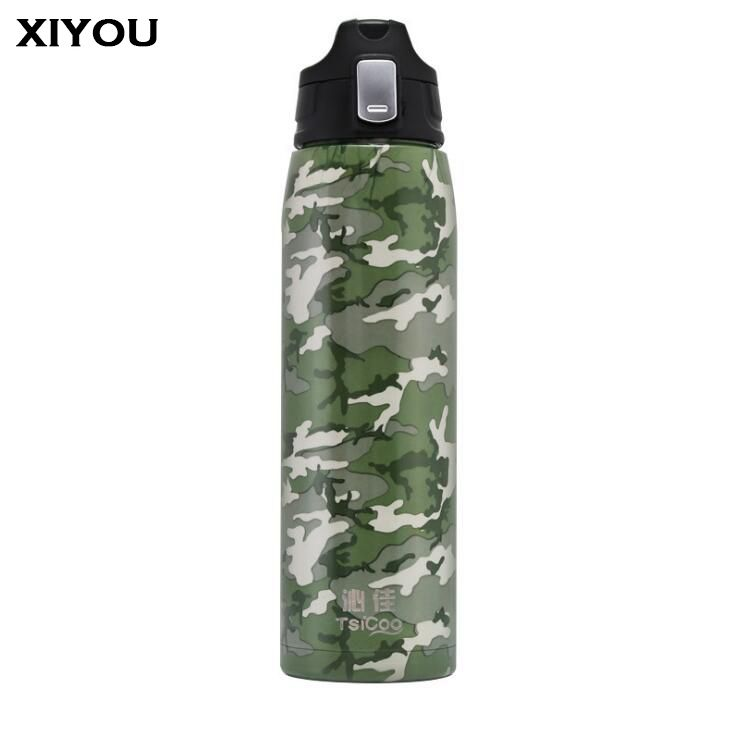 XIYOU Outdoor Vacuum Stainless Steel Sports Water Bottle Flask Leak proof Fashion Kettle Loop Lid Wide Mouth Jeans&army design