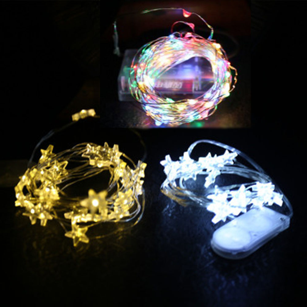 5 meters 50 Leds five-Star shaped Battery Powered Fairy light String For home Hotel Christmas Party Wedding Holiday Decoration