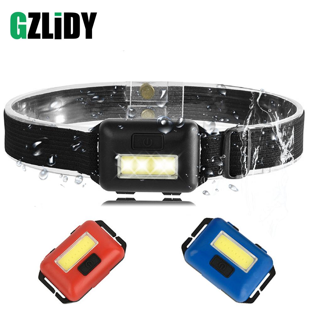 Waterproof COB Headlight 3 Lighting Modes LED Mini Headlamp Use 3 AAA Batteries Suitable For Outdoor Fishing, Camping, Etc.
