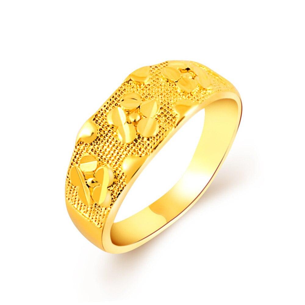 Popular Classical Yellow Gold Flower Ring For Female Smart Enamel Finger Bohemian Charms Rings for Woman Gold Wedding Rings Gift