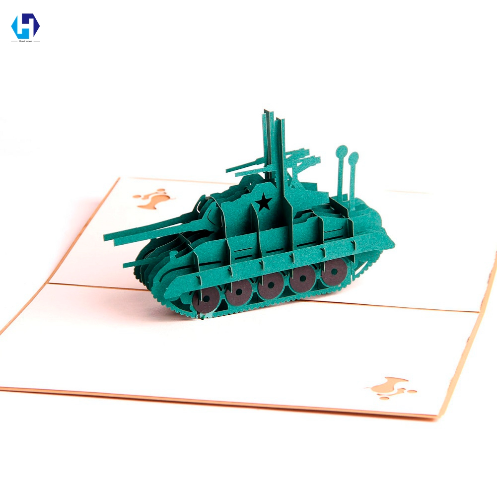 Tank dies 3D pop up greeting card laser cutting envelope postcard handmade kirigami Creative gifts 10pcs/lot Wholesale ...