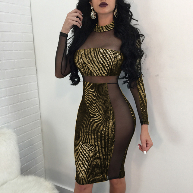 Sexy Shiny Dress Women Metallic Sequin Dress Sheer Mesh Long Sleeve High Neck  Bodycon Dress Clubwear Party Dresses female Gold 5fe45bfc3355