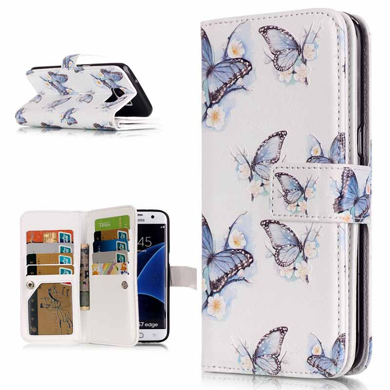 Printed Wallet PU Leather Case For Samsung Galaxy S3 S4 S5 S6 S7 S6 Edge S7 Edge 9 Card Slots Stand Cover Phone Bag S4D69D