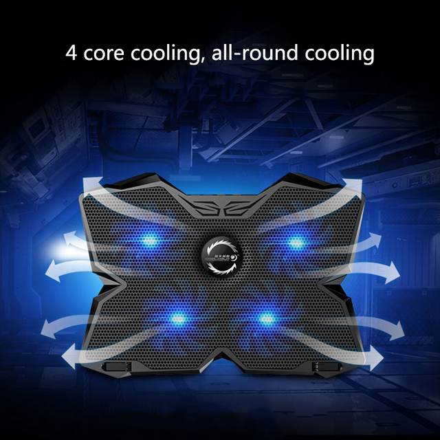 New  Laptop Cooler USB Laptop Cooling Pad 4 Fans Notebook Stand LED Backlight for Laptops Gaming Daily Use 5