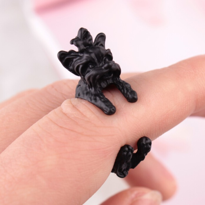 2016 Retro New Arrival Vintage West Highland Yorky Terrier Rings Streched Animal Yorkshire Puppy Dog Rings for Women