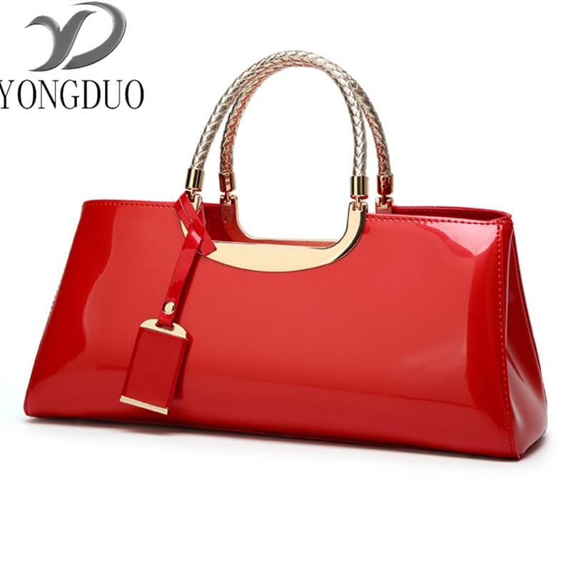 Cola moda Patente Couro Bolsa do Saco Das Mulheres bolsa de Ombro Designer de Luxo Pacote de Casamento Saco de Noiva Banquete Novo Top-Handle Bags