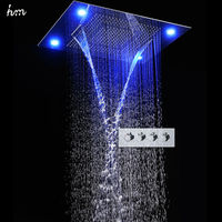 Led Shower Set SUS304 Shower Head Embeded Ceiling Big Waterfall Curtainfall Remote Lighting 24 31 4