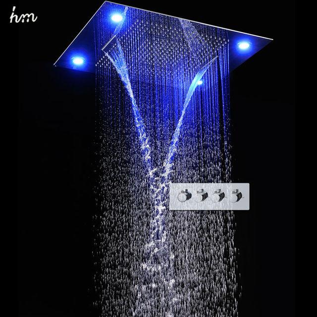 hm große regen dusche set wasserfall fernbedienung led vertiefte ... - Regendusche Led