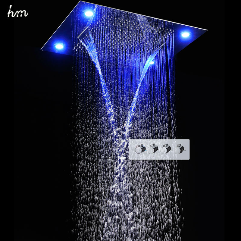hm Large Rain Shower Set Waterfall Remote Control LED Recessed Ceiling Mount Multifunction Shower Head Bath & Shower Faucets