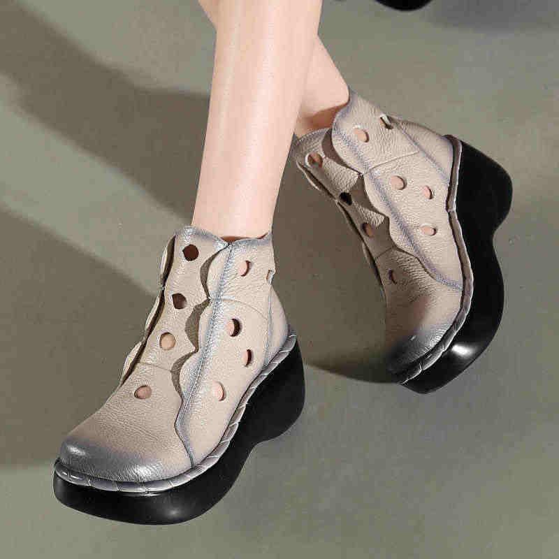 Hakiki Deri Kadın Yaz Çizmeler Platformu Takozlar Yuvarlak Ayak Delikli Delik yarım çizmeler Vintage Kadın Ayakkabı