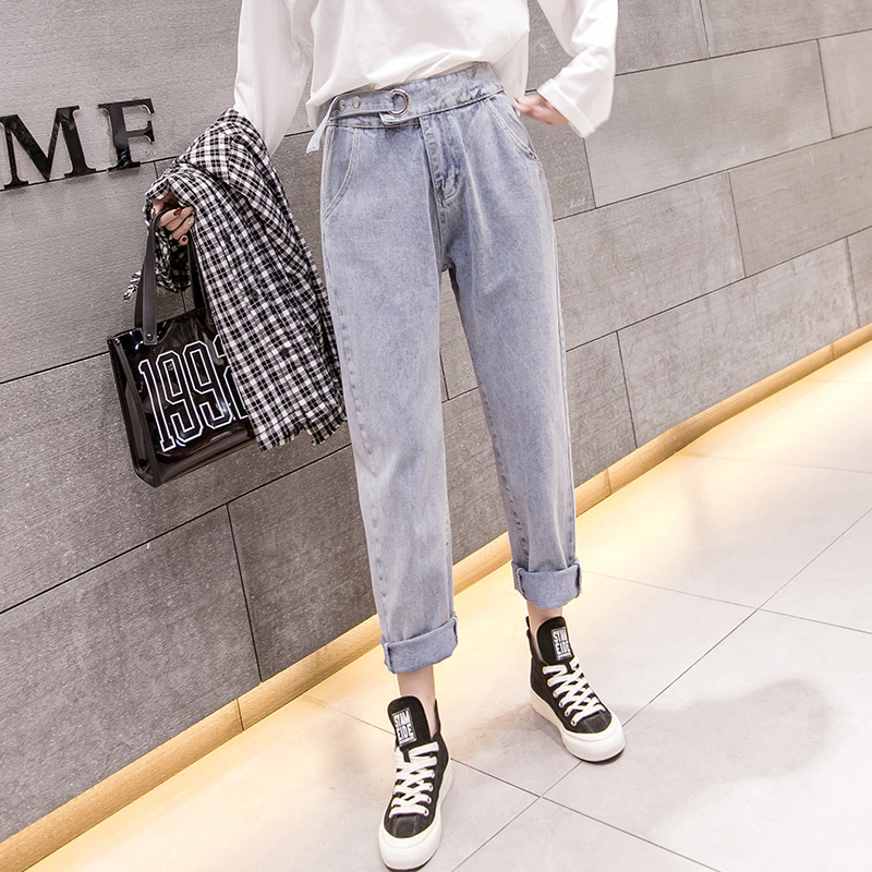 2019 spring new wild long Korean street casual wild straight women's jeans ankle-Length pants 1