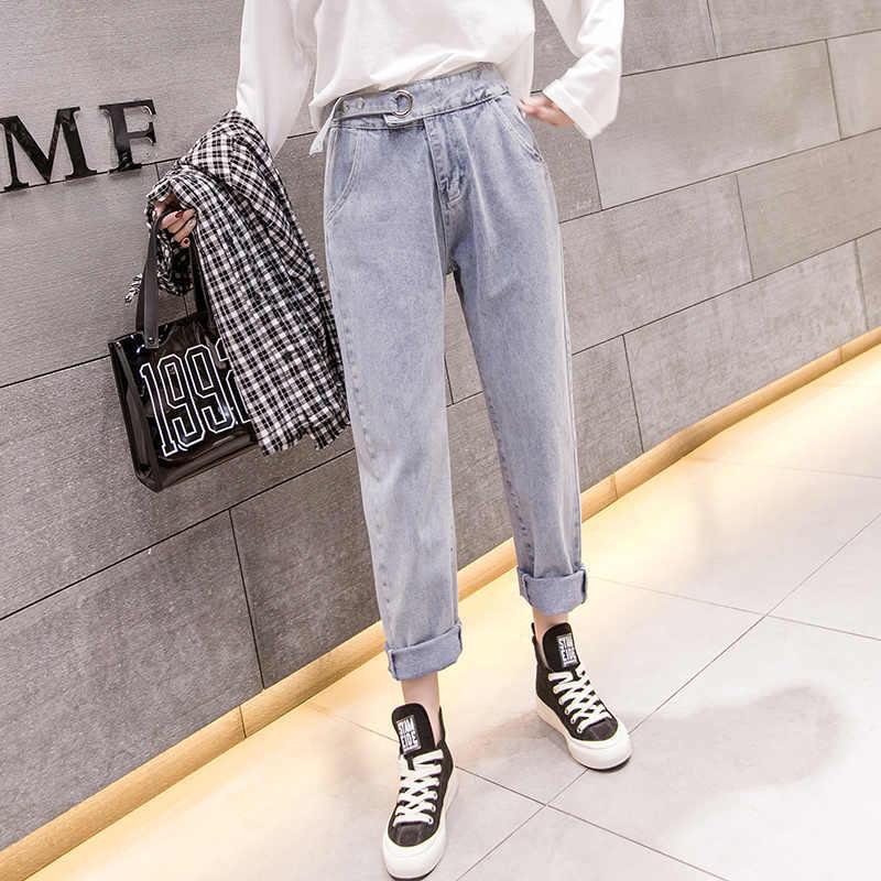 Новинка весны 2019 длинные корейские уличные повседневные Прямые женские джинсы