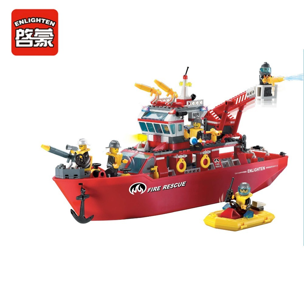 Enlighten Building Block Fire Rescue Multi-Function Fire Ship 6 Firemen 359pcs-Without Original Box