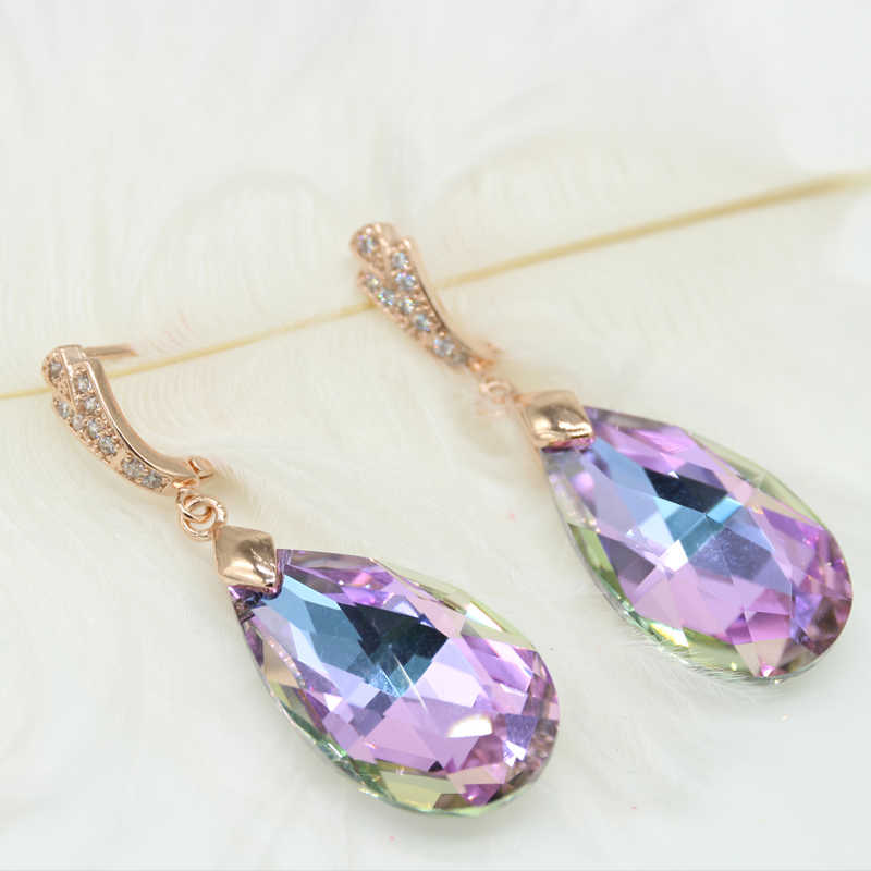 Drop crystal earrings long female temperament earrings gold plating flash ultra - Japanese and Korean personality with ear acces