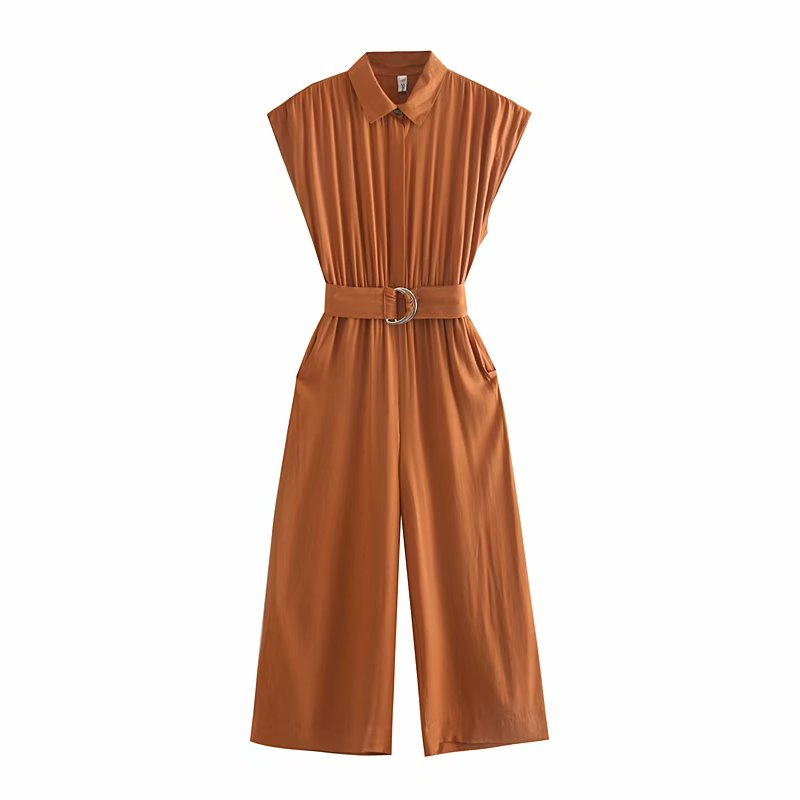 2019 Safari Style Women Turn Down Collar Solid Color Belt Sashes Wide Leg Jumpsuits Ladies Pleats Casual Business Rompers P503
