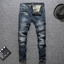 2019 Italian Style Fashion Men Jeans Vintage Designer Ripped Homme Slim Fit Cotton Pants Classical Men,New