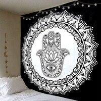 Cilected הודי חמסה יד שטיח קיר תלוי שטיח קיר שטיחי היפי שחור ולבן המנדלה אמנות בד רקע