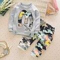 Baby Boy лето одежда Девушка Письмо М Теплый Хлопок Одежда набор для Малыша Камуфляж Куртки Брюки 2 шт. мода Детская Спортивная костюм