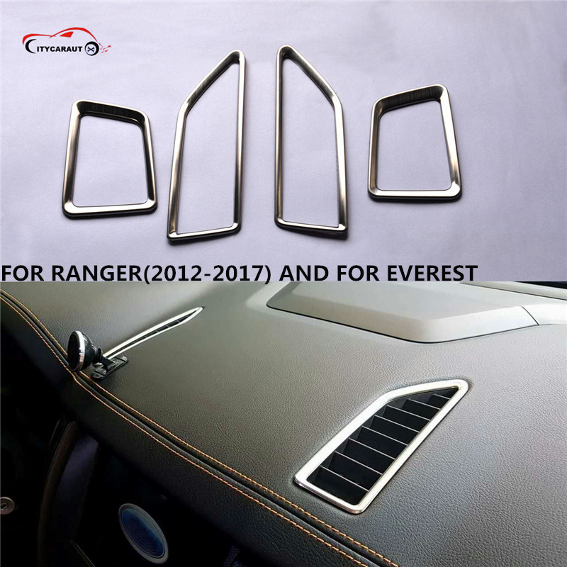 4PCS Stainless steel Interior Outlet Decoration Ring Molding Trim Covers For everest and for 2012-2017 ranger
