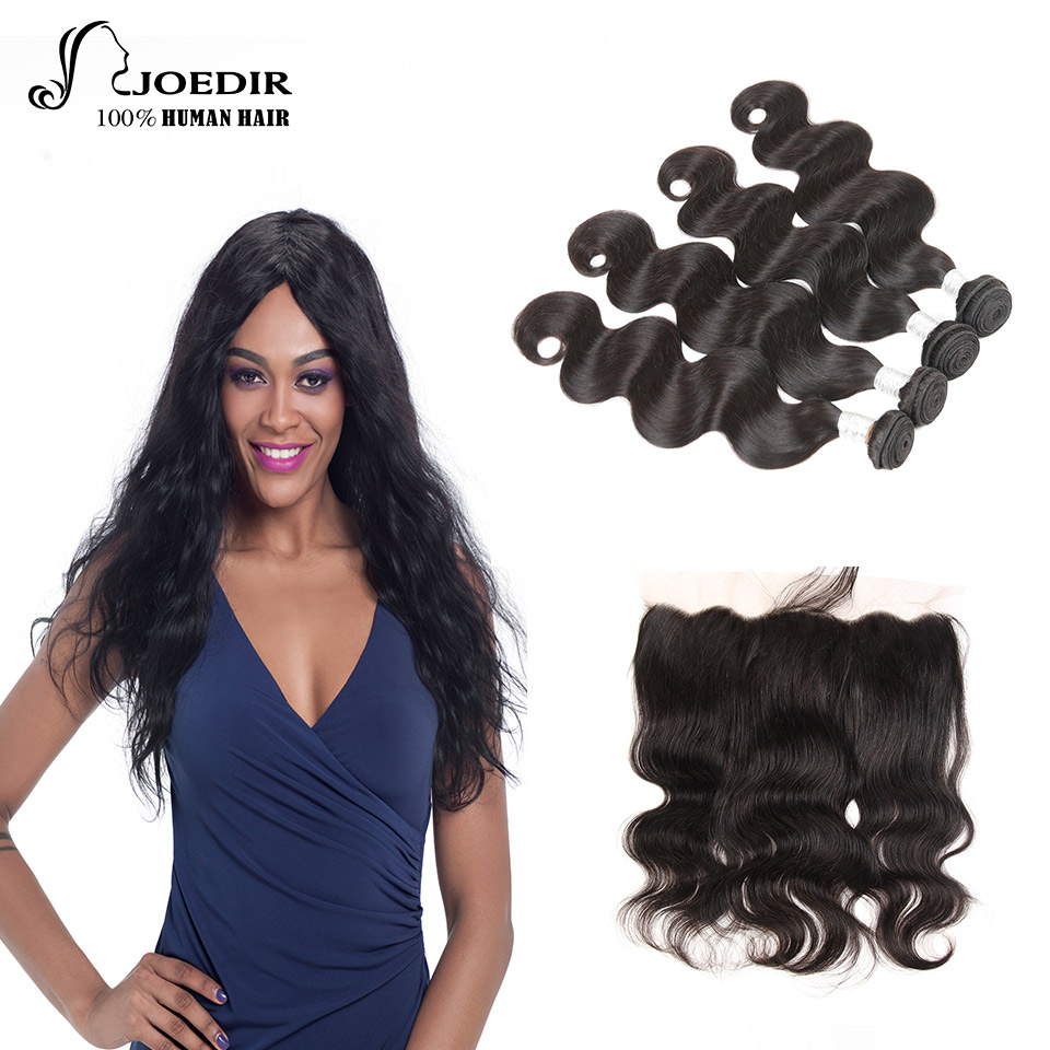 Joedir Hair 100% Indian Human Hair Extention Natural Color 8-26 Inch 4 Bundles With 13*4 Lace Closure Body Wave