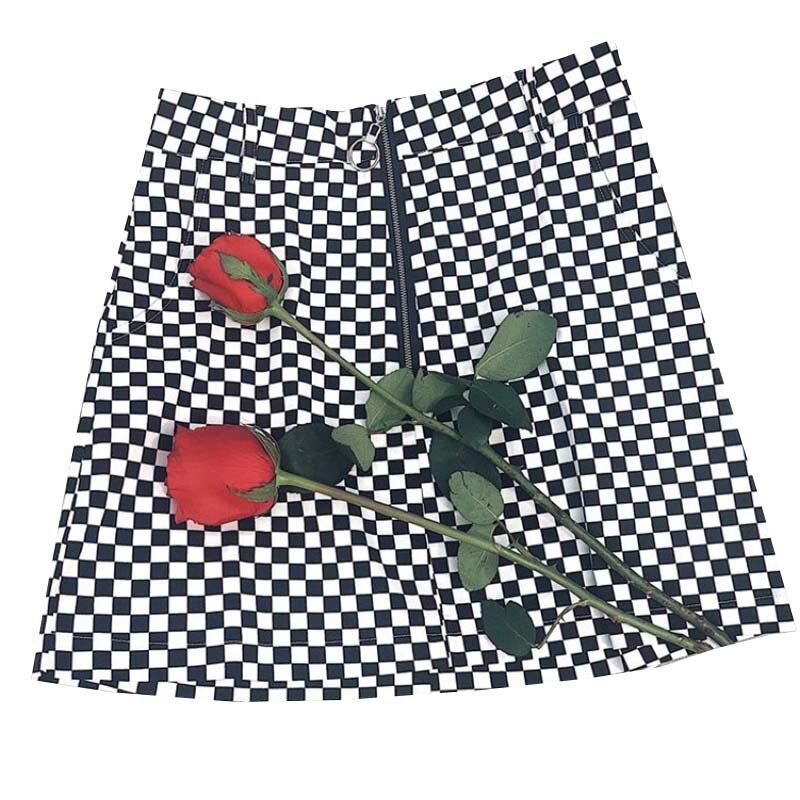 Nuevo Casual verano mujeres estilo japonés cremallera anillo A-line alta cintura Mini Faldas Mujer negro blanco teclado Plaid faldas