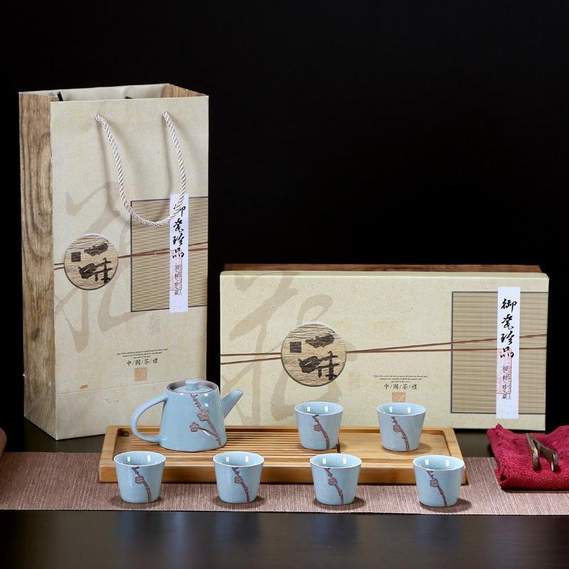 Ensemble de thé en porcelaine bleu et blanc ensemble de thé en porcelaine Traditions chinoises Gai Wan thé tasse ensembles de thé Gaiwan thé Pot ensemble cadeau