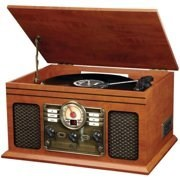 VI CTR Classic Wave Music Ctr system Sound Turntable 6 in 1 Bluetooth Wood