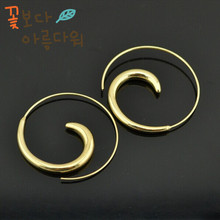 The new design 2014 1 gold and silver tones of fashion earring hoop bolt girl Mrs Wholesale sent free charge