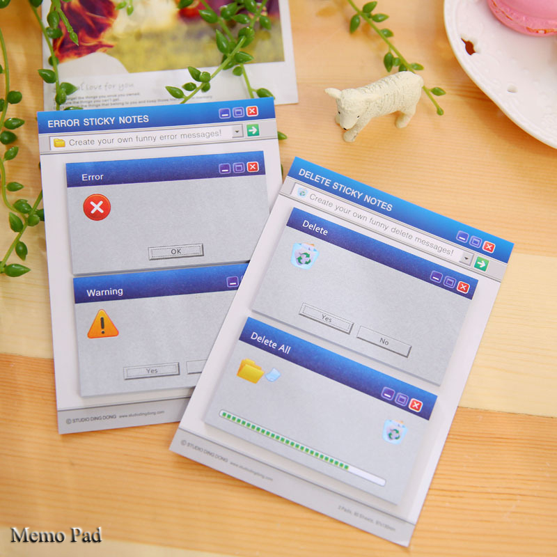 Creative System hint Delete/Error Paper Memo Pad/ Sticker Post Sticky Notes Notepad N Times message Wall stickers Fridge sticker
