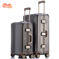 100% fully Aluminum magnesium alloy koffers trolleys koffers 20/25 inch aluminum suitcase for woman and man cabin luggage