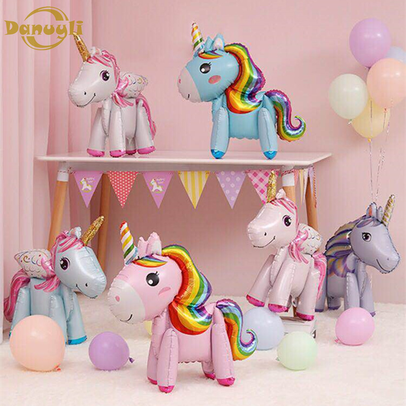 Ballons & Accessories Beautiful 1pc Foil Ballon Stand Pink Unicorn Balloon Birthday Party Decorations Kids Baby Full Moon Commemorative Baby Show Air Baloons