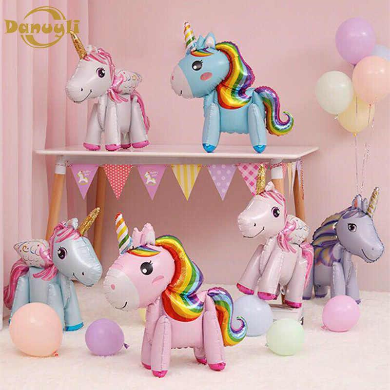 1 pieza globos de papel de aluminio soporte de globos de aire Rosa unicornio cumpleaños fiesta decoraciones niños conmemorativos baby show globos de aire