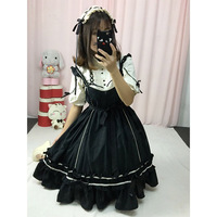 Summer Japanese Punk Gothic High waist jsk Dress Lolita Dresses with tops Wine red ,Pink ,Black .bow knot