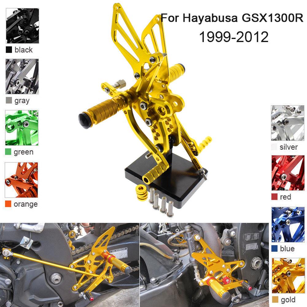 CNC Aluminum Adjustable Rearsets Foot Pegs For Suzuki Hayabusa GSX1300R 2002 2003 2004 2005 2006 2007 2008 2009 2010 2011 2012