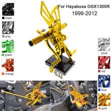 цена на CNC Aluminum Adjustable Rearsets Foot Pegs For Suzuki Hayabusa GSX1300R 2002 2003 2004 2005 2006 2007 2008 2009 2010 2011 2012