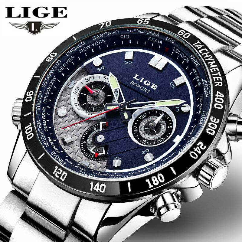 LIGE Waterproof Quartz Men Military Sport Watch Mens Watches Top Brand Luxury Full Steel Business Wristwatch Relogio Masculino didun mens watches top brand luxury watches men steel quartz brand watches men business watch luminous wristwatch water resist