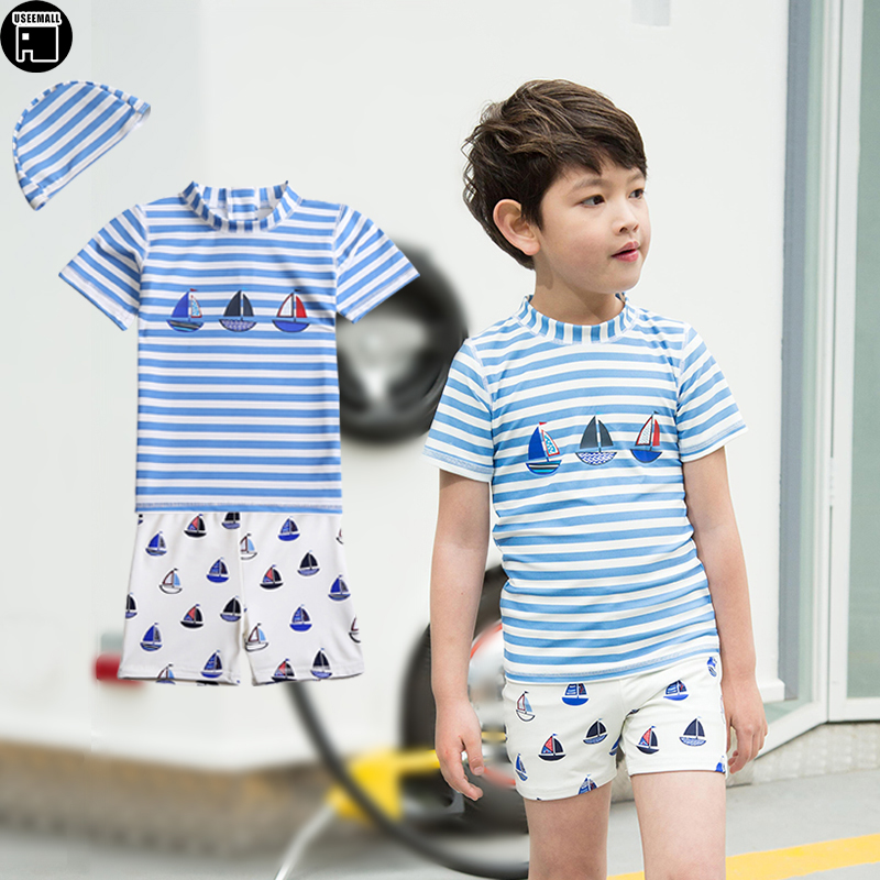 USEEMALL Two Pieces Boys Swimwear Cartoon Striped Swimming Suit For Kids Children Rash Ruard UV Bathing Suits Clothes With Cap