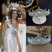 Miss Russia Pageant Crowns Tiaras 2018 Silver Alloy Reticular Pearls Women Hair  Jewelry Wedding Headpieces Headbands For Bride 19dedcf984d8