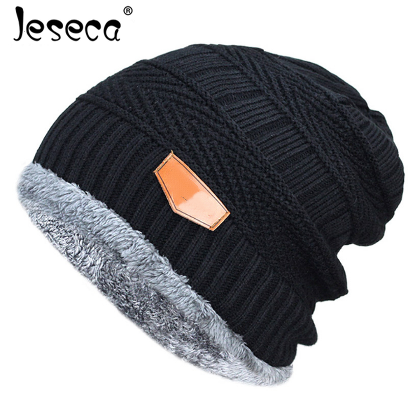 2018 Winter Hats for Men Warmer Winter Knitted Black Caps Thick Soft Casual Knitted Bonnet Cotton Male   Skullies     Beanies
