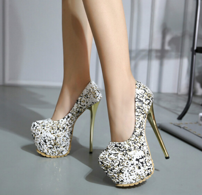 16CM high with fine with sexy shoes The new sequined shoes catwalk Waterproof nightclub heels