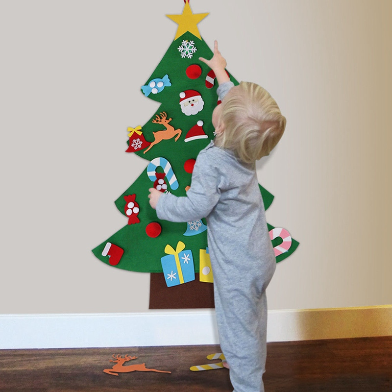 Hanging Christmas Decorations Diy.Us 10 85 28 Off Christmas Diy Felt Christmas Tree Wall Stickers Kids Gifts Door Wall Hanging Christmas Decor Christmas Decorations For Home In Wall